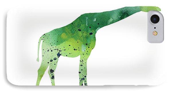 Abstract Green Giraffe Minimalist Painting IPhone 7 Case by Joanna Szmerdt