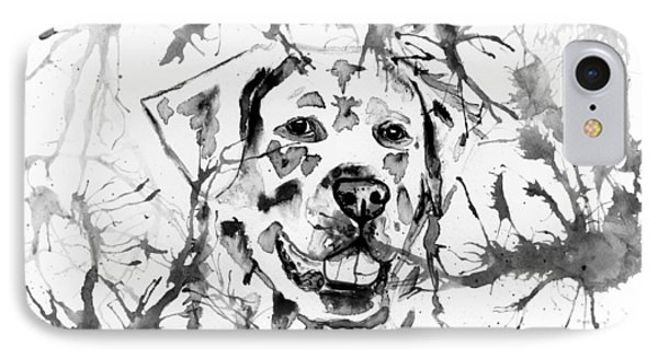 Abstract Ink - Golden Retriever In Black And White IPhone Case by Michelle Wrighton