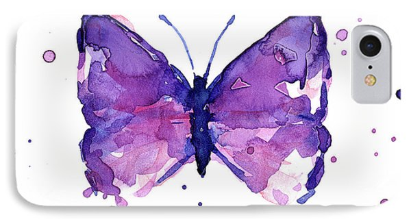 Abstract Purple Butterfly Watercolor IPhone Case by Olga Shvartsur