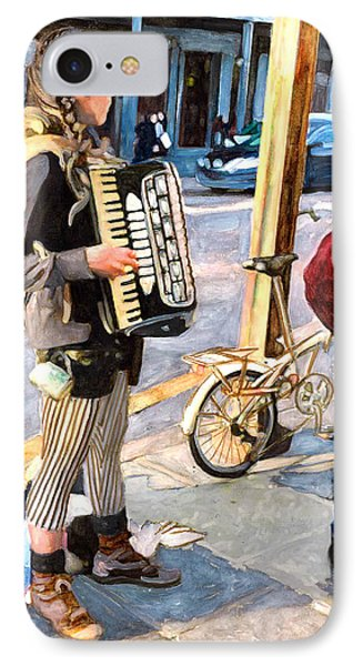 Accordian Busker IPhone Case by John Boles