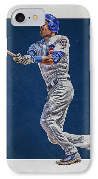 Addison Russell Chicago Cubs Art IPhone Case by Joe Hamilton