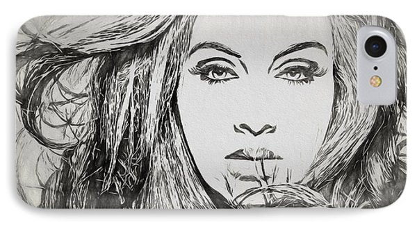 Adele Charcoal Sketch IPhone Case by Dan Sproul