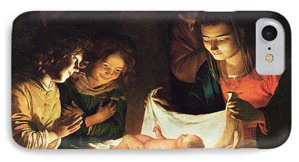Adoration Of The Baby IPhone Case by Gerrit van Honthorst