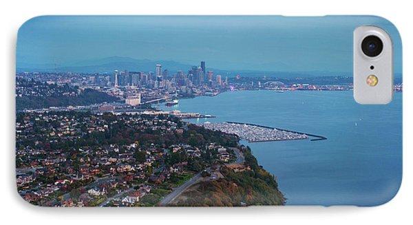 Aerial Magnolia Bluff And Seattle IPhone Case by Mike Reid