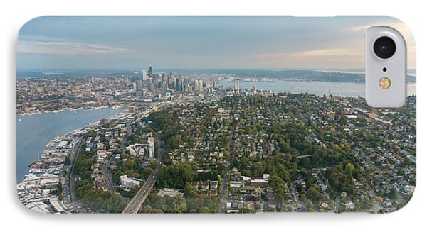 Aerial Queen Anne Hill And Seattle Beyond IPhone Case by Mike Reid