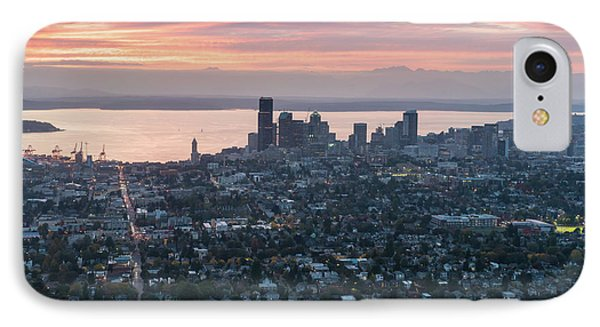 Aerial Seattle And Capitol Hill At Sunset IPhone Case by Mike Reid