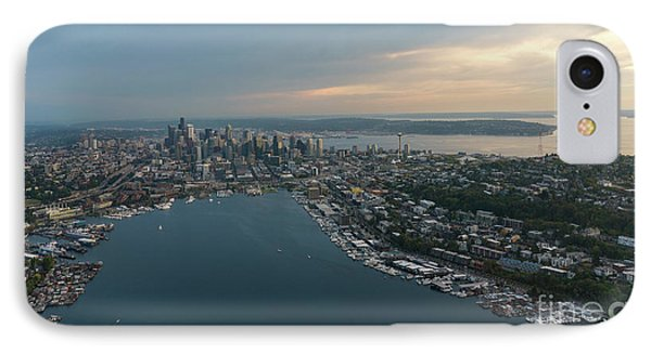 Aerial Seattle Queen Anne Lake Union And Beyond IPhone Case by Mike Reid