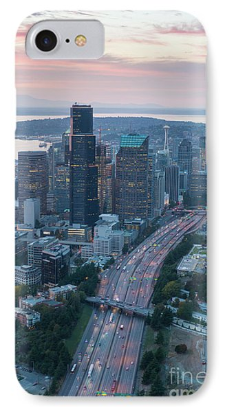 Aerial Seattle Skyline And Interstate 5 IPhone Case by Mike Reid