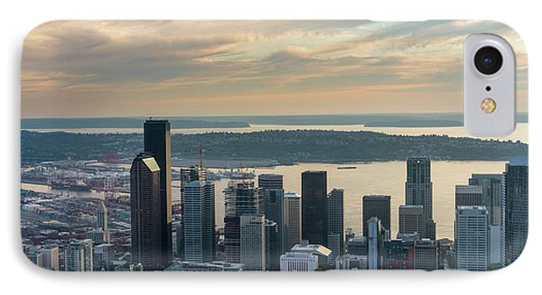 Aerial Seattle Skyline On The Grow IPhone Case by Mike Reid