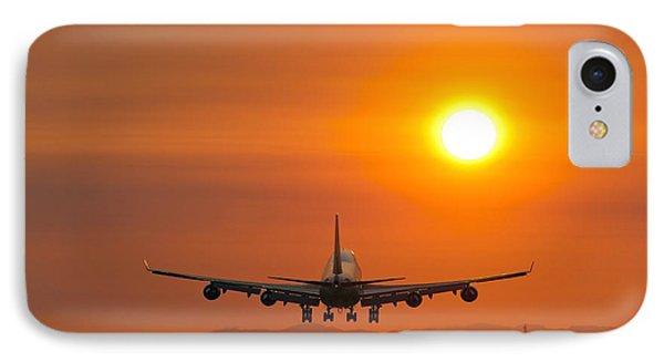 Aeroplane Landing At Sunset IPhone Case by David Nunuk