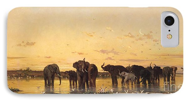 African Elephants IPhone 7 Case by Charles Emile de Tournemine