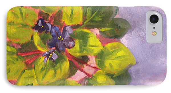 African Violet Still Life Oil Painting IPhone Case by Nancy Merkle