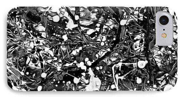After Pollock Black And White IPhone Case by Edward Fielding