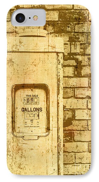 Aged Yellowed Vintage Photo Of A Gas Pump IPhone Case by Jorgo Photography - Wall Art Gallery