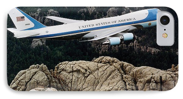 Air Force One Flying Over Mount Rushmore IPhone Case by War Is Hell Store