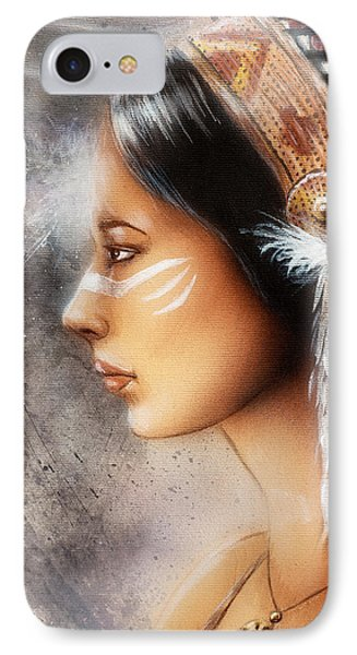 Airbrush Painting Of A Young Indian Woman. Profile Portrait IPhone Case by Jozef Klopacka