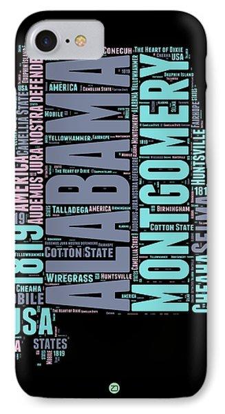 Alabama Word Cloud 1 IPhone Case by Naxart Studio