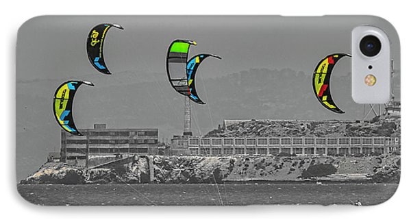 Alcatraz Bw Kites Color  IPhone Case by Chuck Kuhn