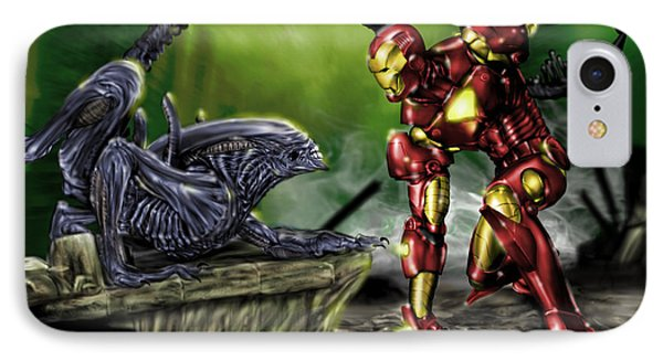 Alien Vs Iron Man Phone Case by Pete Tapang