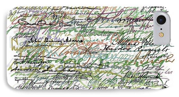 All The Presidents Signatures Green Sepia Phone Case by Tony Rubino
