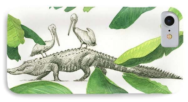Alligator With Pelicans IPhone 7 Case by Juan Bosco