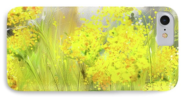 Alyssum Basket Of Gold - Yellow And Gray Abstract IPhone Case by Lourry Legarde