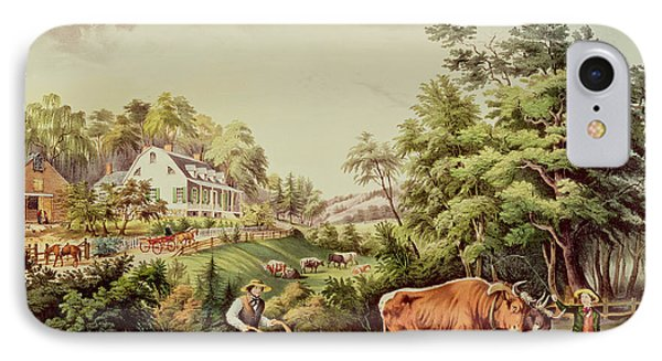 American Farm Scenes IPhone Case by Currier and Ives