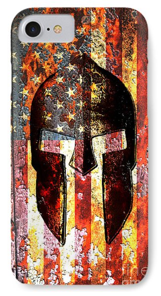American Flag And Spartan Helmet On Rusted Metal Door IPhone Case by Fred Bertheas