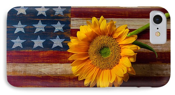 American Flag And Sunflower IPhone Case by Garry Gay