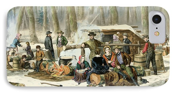 American Forest Scene Maple Sugaring IPhone Case by Currier and Ives