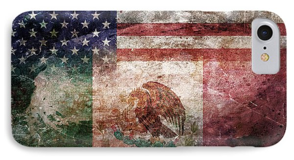 American Mexican Tattered Flag  IPhone Case by Az Jackson