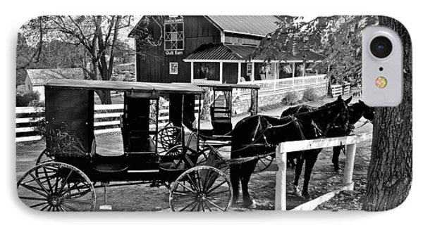 Amish Horse And Buggy In Black And White IPhone Case by Frozen in Time Fine Art Photography