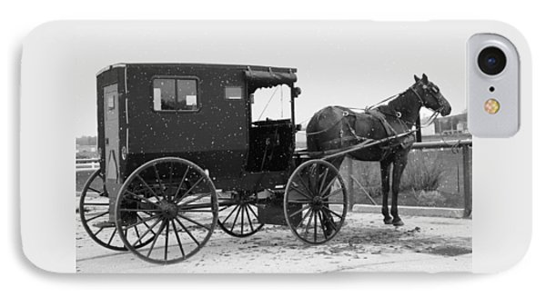 Amish Horse And Buggy In Snow Black And White IPhone Case by Dan Sproul