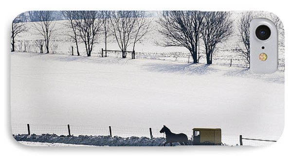 Amish Horse And Buggy In Snowy Landscape Phone Case by Jeremy Woodhouse