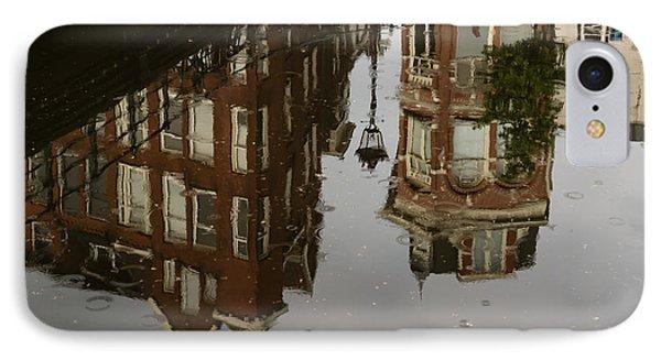 Amsterdam - Moody Canal Reflection In The Rain IPhone Case by Georgia Mizuleva