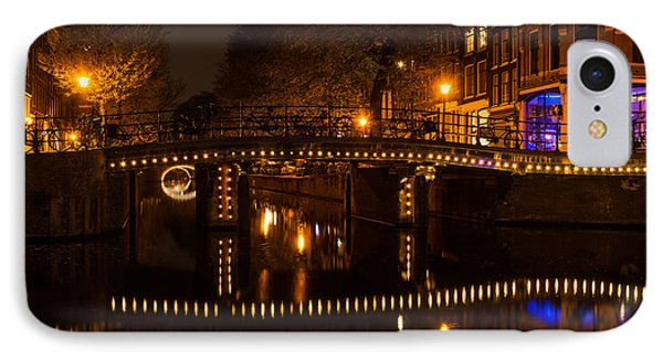Amsterdam Night In Yellow And Purple IPhone Case by Georgia Mizuleva