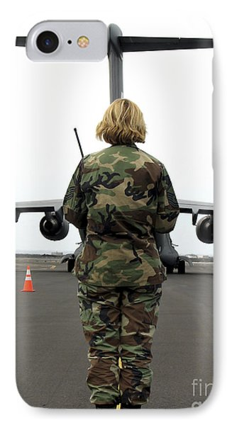 An Airfield Manager Greets An Arriving Phone Case by Stocktrek Images