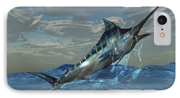 An Iridescent Blue Marlin Bursts Phone Case by Corey Ford