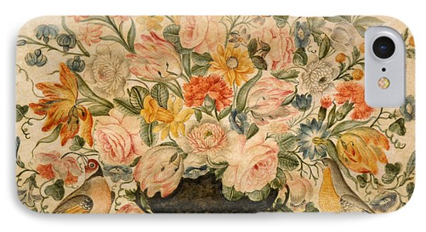 An Urn Containing Flowers On A Ledge IPhone Case by Octavianus Montfort
