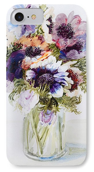 Anemones In A Glass Jug IPhone Case by Joan Thewsey