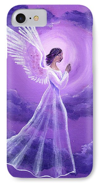 Angel In Amethyst Moonlight IPhone Case by Laura Iverson
