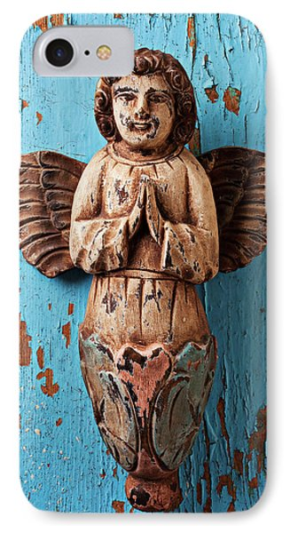 Angel On Blue Wooden Wall IPhone Case by Garry Gay