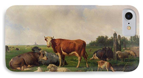 Animals Grazing In A Meadow  IPhone Case by Hendrikus van de Sende Baachyssun