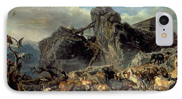 Animals Leaving The Ark, Mount Ararat  IPhone Case by Filippo Palizzi
