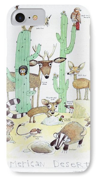 Animals With Cacti In Desert - F IPhone Case by Gillham Studios