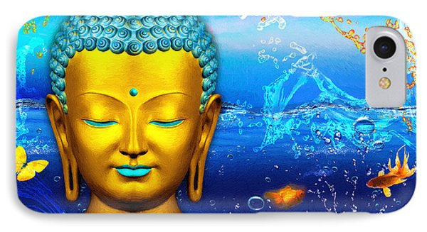 Aqua Buddha IPhone Case by Khalil Houri