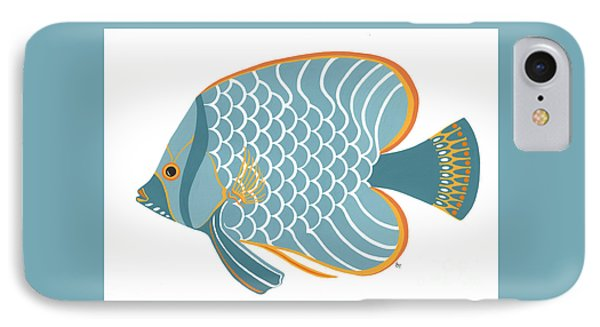 Aqua Mid Century Fish IPhone Case by Stephanie Troxell
