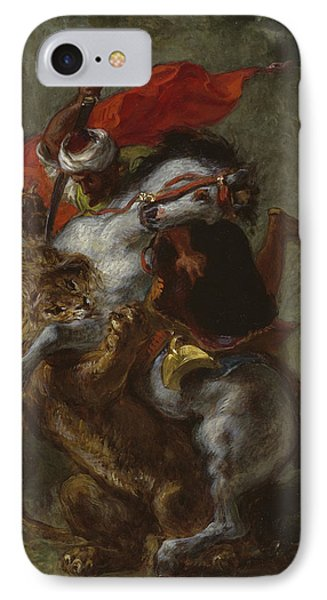 Arab Horseman Attacked By A Lion IPhone Case by Ferdinand Victor Eugene Delacroix