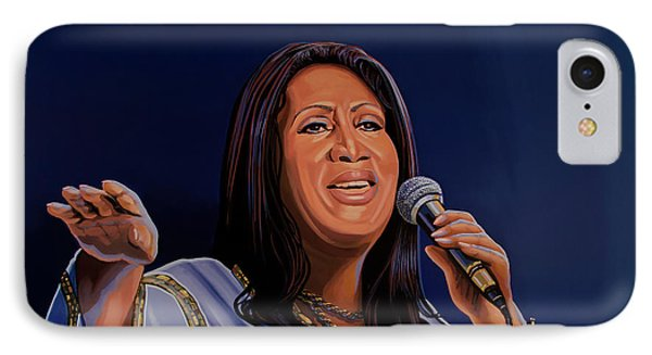 Aretha Franklin Painting IPhone Case by Paul Meijering