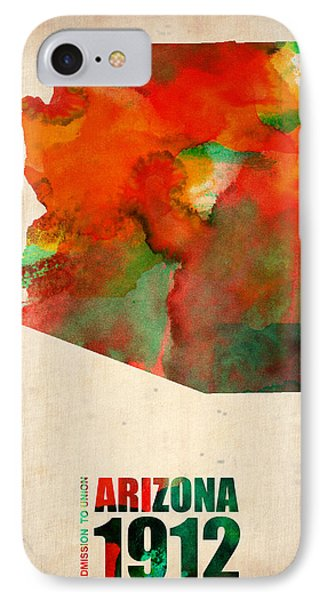 Arizona Watercolor Map IPhone Case by Naxart Studio